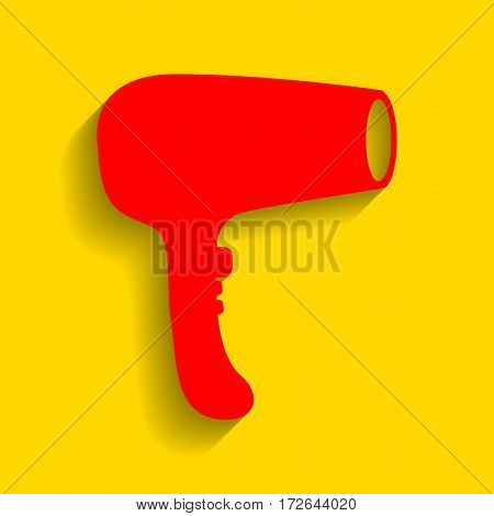 Hair Dryer sign. Vector. Red icon with soft shadow on golden background.
