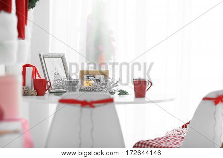 Modern dining room with Christmas decorations