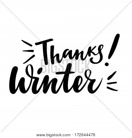 Thanksgiving greeting card with phrase: Thanks winter. Vector isolated illustration: brush calligraphy, hand lettering. Inspirational typography poster