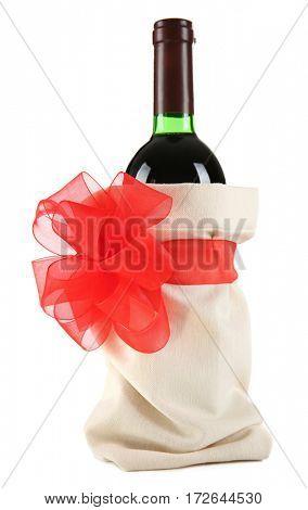 Decorated wine bottle on white background