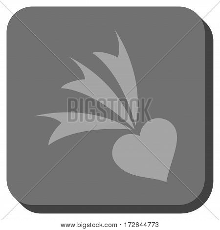 Falling Heart interface toolbar icon. Vector pictogram style is a flat symbol centered in a rounded square button light gray and gray colors.