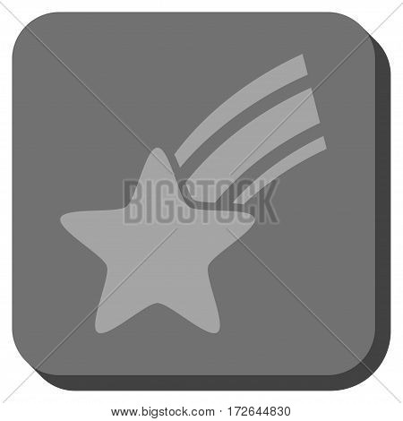 Falling Star toolbar icon. Vector pictograph style is a flat symbol centered in a rounded square button light gray and gray colors.