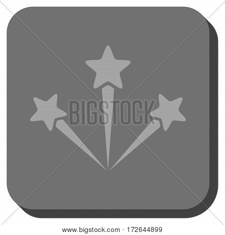 Festive Fireworks interface toolbar icon. Vector pictograph style is a flat symbol on a rounded square button light gray and gray colors.