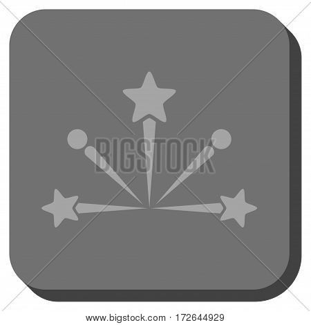 Fireworks Bang rounded icon. Vector pictograph style is a flat symbol centered in a rounded square button light gray and gray colors.