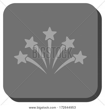 Fireworks Burst interface button. Vector pictograph style is a flat symbol centered in a rounded square button light gray and gray colors.