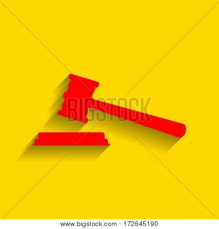 Justice hammer sign. Vector. Red icon with soft shadow on golden background.