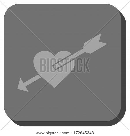 Heart Arrow toolbar button. Vector pictogram style is a flat symbol on a rounded square button light gray and gray colors.