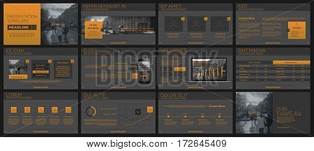 Orange and black elements for infographics on a grey background. Presentation templates. Use in presentation, flyer and leaflet, corporate report, marketing, advertising, annual report, banner.