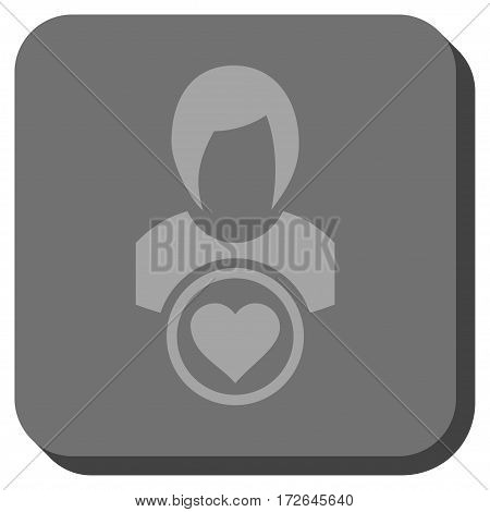 Lady Love rounded button. Vector pictogram style is a flat symbol inside a rounded square button light gray and gray colors.