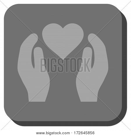 Love Care Hands rounded icon. Vector pictograph style is a flat symbol in a rounded square button light gray and gray colors.