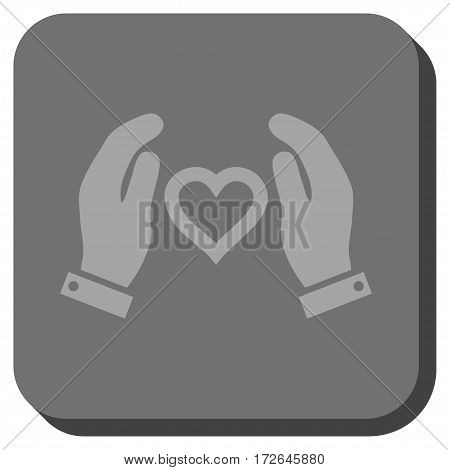 Love Care Hands interface toolbar button. Vector pictogram style is a flat symbol centered in a rounded square button light gray and gray colors.