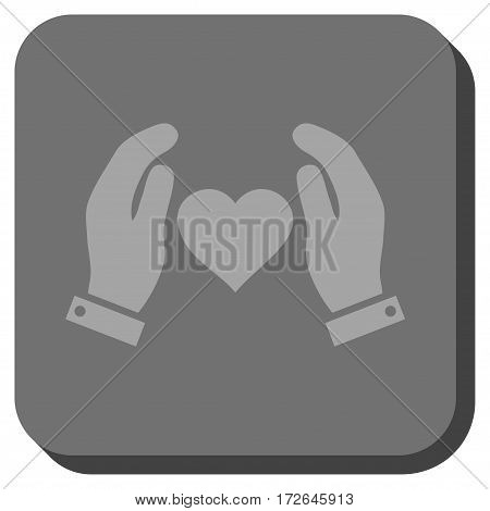 Love Care Hands toolbar button. Vector pictogram style is a flat symbol in a rounded square button light gray and gray colors.