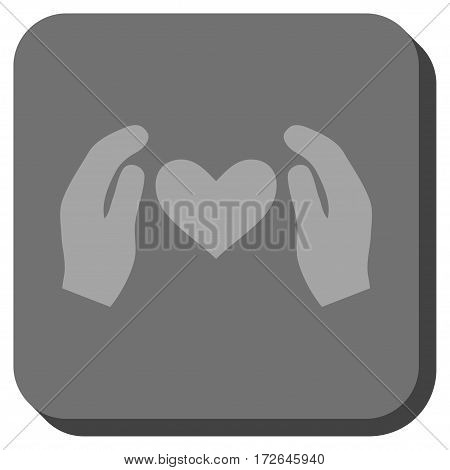 Love Care Hands interface icon. Vector pictograph style is a flat symbol inside a rounded square button light gray and gray colors.