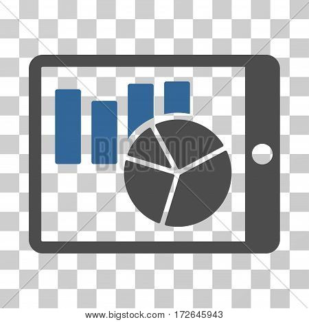 Charts On PDA icon. Vector illustration style is flat iconic bicolor symbol cobalt and gray colors transparent background. Designed for web and software interfaces.