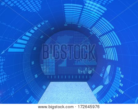 Abstract screens with various financial information