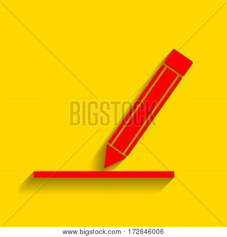 Pencil sign illustration. Vector. Red icon with soft shadow on golden background.