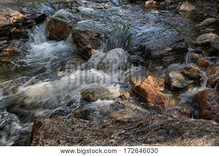 Bubbling Water Stream Of The Mountain River Closeup