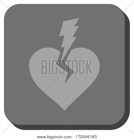 Love Heart Crash interface toolbar icon. Vector pictogram style is a flat symbol centered in a rounded square button light gray and gray colors.