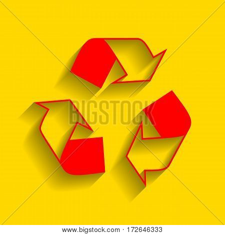 Recycle logo concept. Vector. Red icon with soft shadow on golden background.
