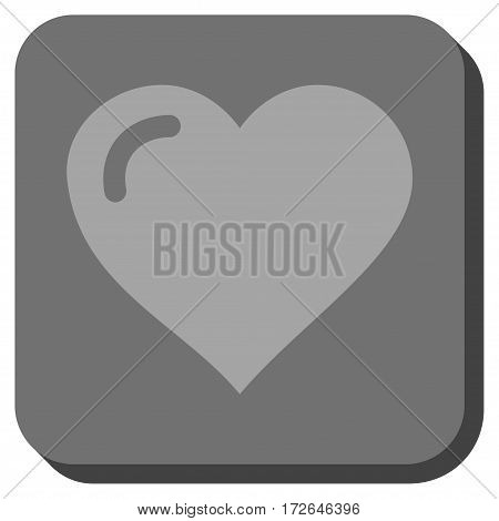 Love Heart square icon. Vector pictograph style is a flat symbol in a rounded square button light gray and gray colors.