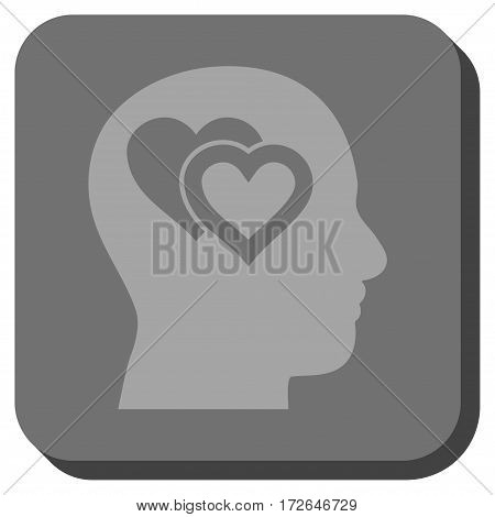 Love In Mind interface icon. Vector pictograph style is a flat symbol on a rounded square button light gray and gray colors.
