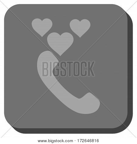 Love Phone Call interface button. Vector pictograph style is a flat symbol centered in a rounded square button light gray and gray colors.