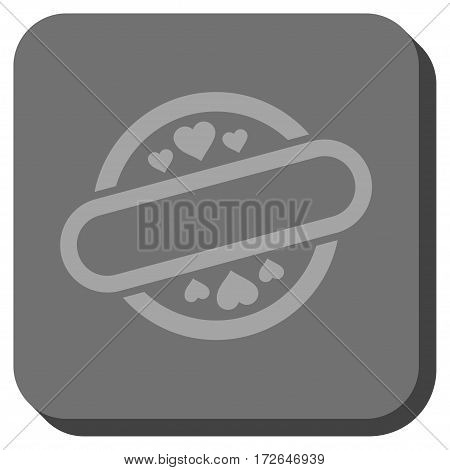 Love Stamp Seal toolbar icon. Vector pictogram style is a flat symbol inside a rounded square button light gray and gray colors.