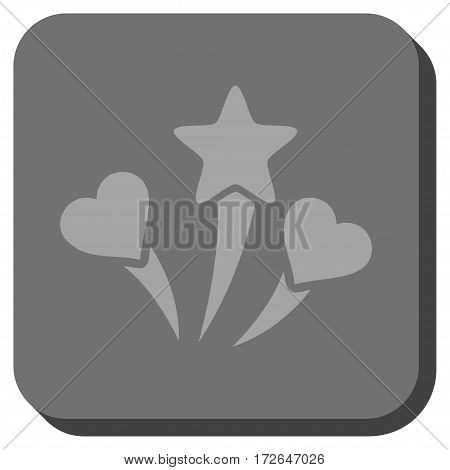 Lovely Fireworks interface button. Vector pictogram style is a flat symbol in a rounded square button light gray and gray colors.