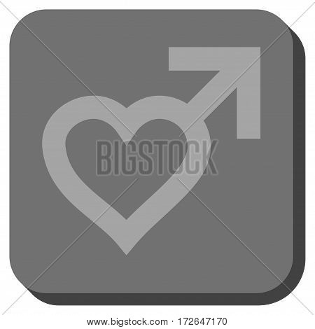 Male Heart interface icon. Vector pictograph style is a flat symbol inside a rounded square button light gray and gray colors.
