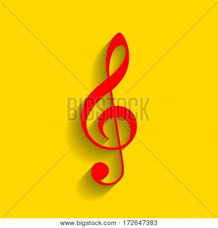 Music violin clef sign. G-clef. Treble clef. Vector. Red icon with soft shadow on golden background.