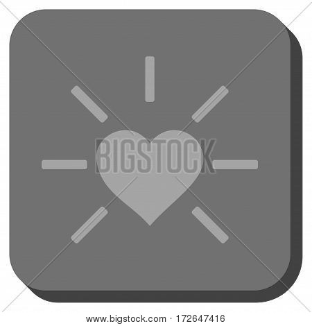 Shiny Love Heart square icon. Vector pictogram style is a flat symbol inside a rounded square button light gray and gray colors.