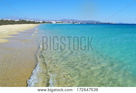 landscape of Saint Prokopios beach Naxos island Cyclades Greece