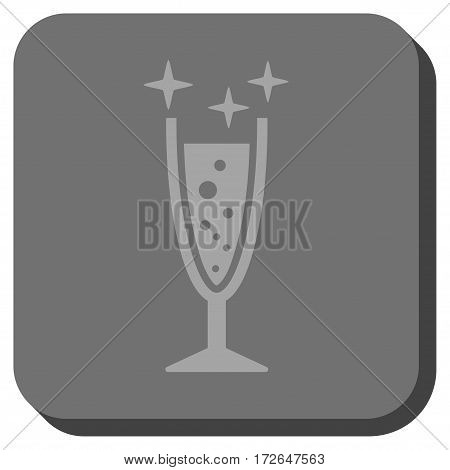 Sparkle Wine Glass rounded button. Vector pictogram style is a flat symbol in a rounded square button light gray and gray colors.