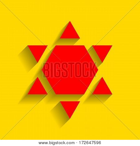 Shield Magen David Star Inverse. Symbol of Israel inverted. Vector. Red icon with soft shadow on golden background.