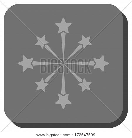 Star Burst Fireworks rounded button. Vector pictograph style is a flat symbol centered in a rounded square button light gray and gray colors.