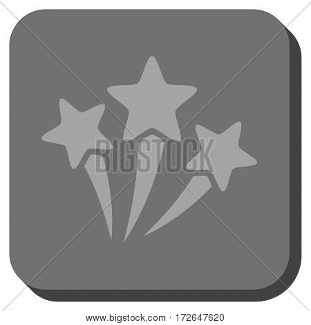 Star Fireworks interface icon. Vector pictogram style is a flat symbol inside a rounded square button light gray and gray colors.