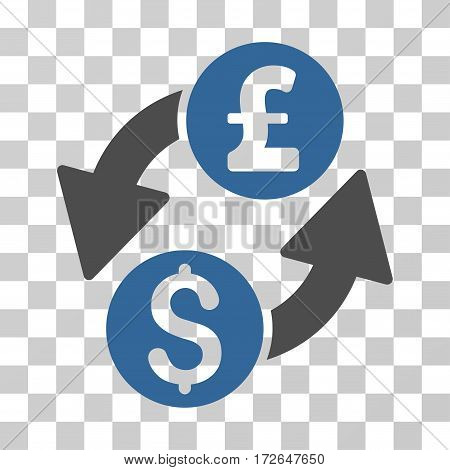 Dollar Pound Exchange icon. Vector illustration style is flat iconic bicolor symbol cobalt and gray colors transparent background. Designed for web and software interfaces.