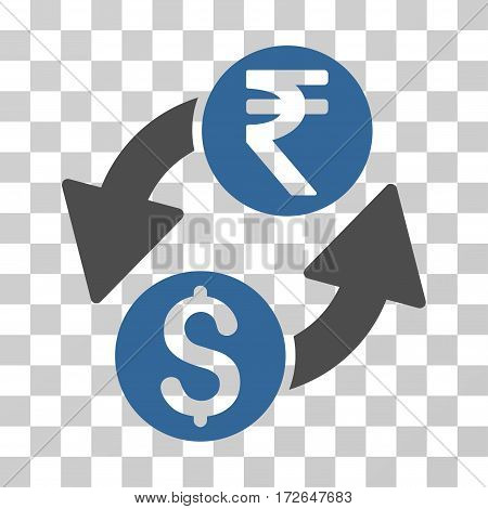 Dollar Rupee Exchange icon. Vector illustration style is flat iconic bicolor symbol cobalt and gray colors transparent background. Designed for web and software interfaces.