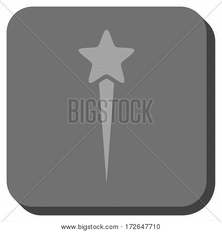 Starting Star toolbar icon. Vector pictogram style is a flat symbol on a rounded square button light gray and gray colors.