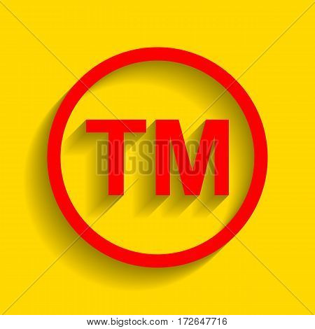 Trade mark sign. Vector. Red icon with soft shadow on golden background.