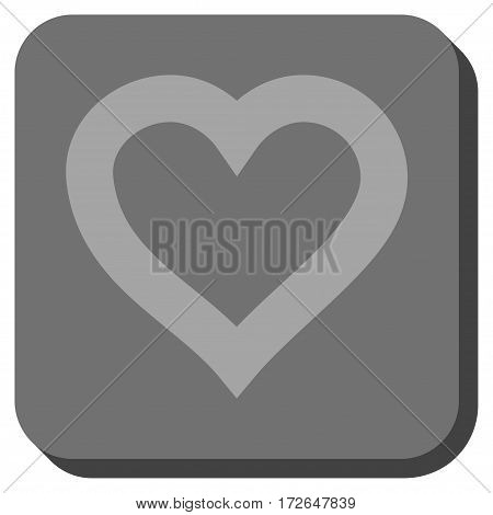 Valentine Heart interface toolbar icon. Vector pictograph style is a flat symbol in a rounded square button light gray and gray colors.