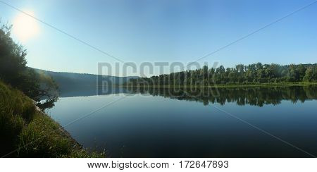 Panorama Of The River With Calm Water