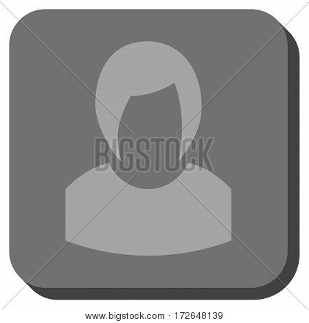 Woman Profile interface button. Vector pictograph style is a flat symbol inside a rounded square button light gray and gray colors.