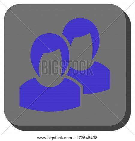 Women toolbar icon. Vector pictograph style is a flat symbol inside a rounded square button violet and gray colors.