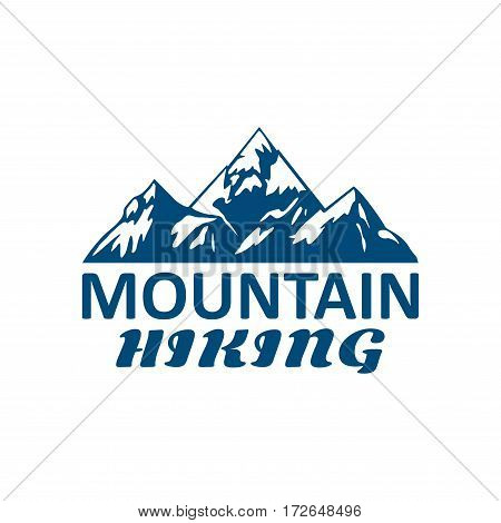 Alpine hiking or mountain hike tourism or sport vector icon of blue Alp rocks and snow peaks. Emblem for climbing expedition or mountaineering adventure, winter nature explorer camping trip