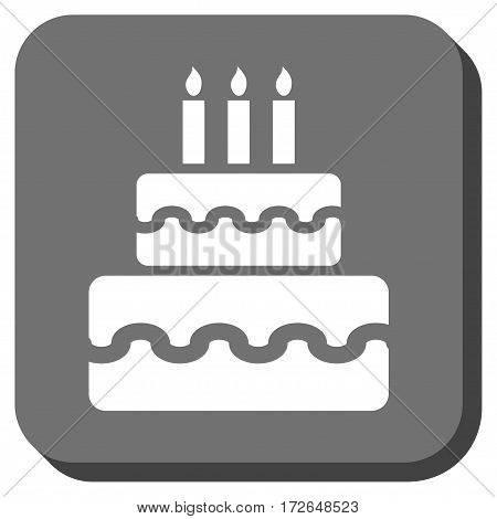 Birthday Cake interface icon. Vector pictogram style is a flat symbol on a rounded square button white and gray colors.