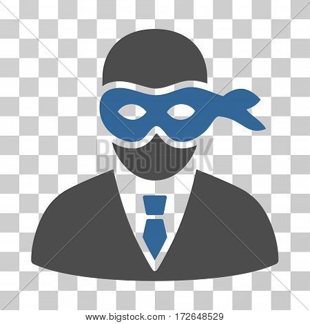 Masked Thief icon. Vector illustration style is flat iconic bicolor symbol cobalt and gray colors transparent background. Designed for web and software interfaces.