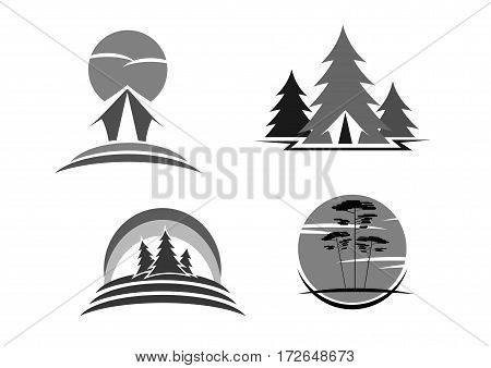 Eco tourism, green travel or camping vector icons. Isolated emblems set of forest or park trees, outdoors woodland camp tent and nature trip adventure. Ecology and environment concept