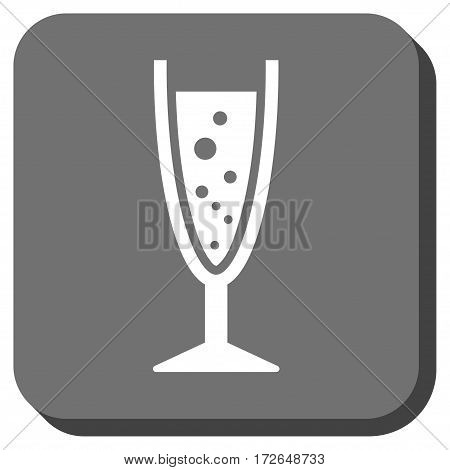 Champagne Glass interface button. Vector pictograph style is a flat symbol inside a rounded square button white and gray colors.