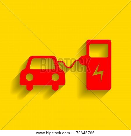 Electric car battery charging sign. Vector. Red icon with soft shadow on golden background.